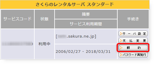 Cancellation of Sakura rental server-01